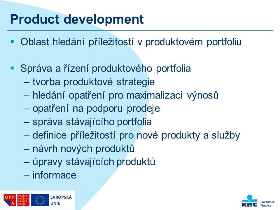 Product development Oblast hledání příležitostí v produktovém portfoliu. Správa a řízení produktového portfolia.
