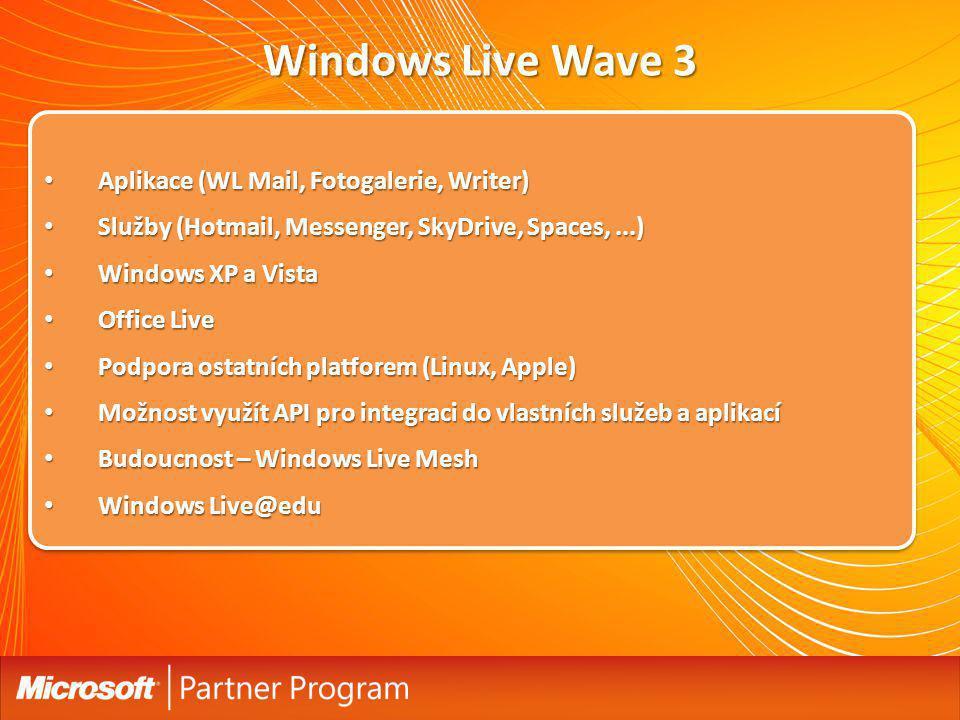 Windows Live Wave 3 Aplikace (WL Mail, Fotogalerie, Writer)