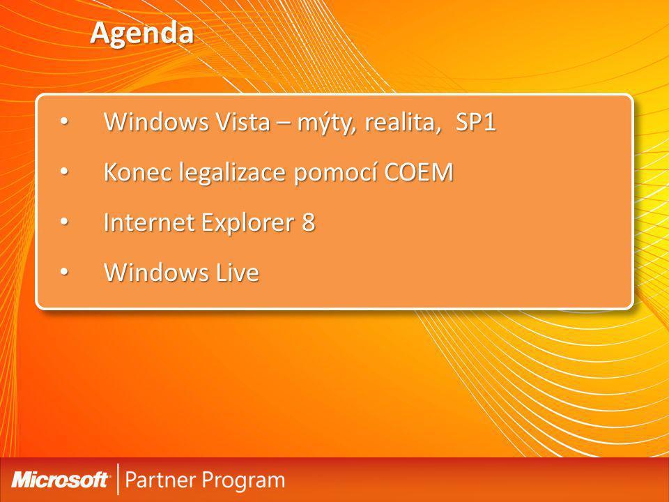 Agenda Windows Vista – mýty, realita, SP1 Konec legalizace pomocí COEM