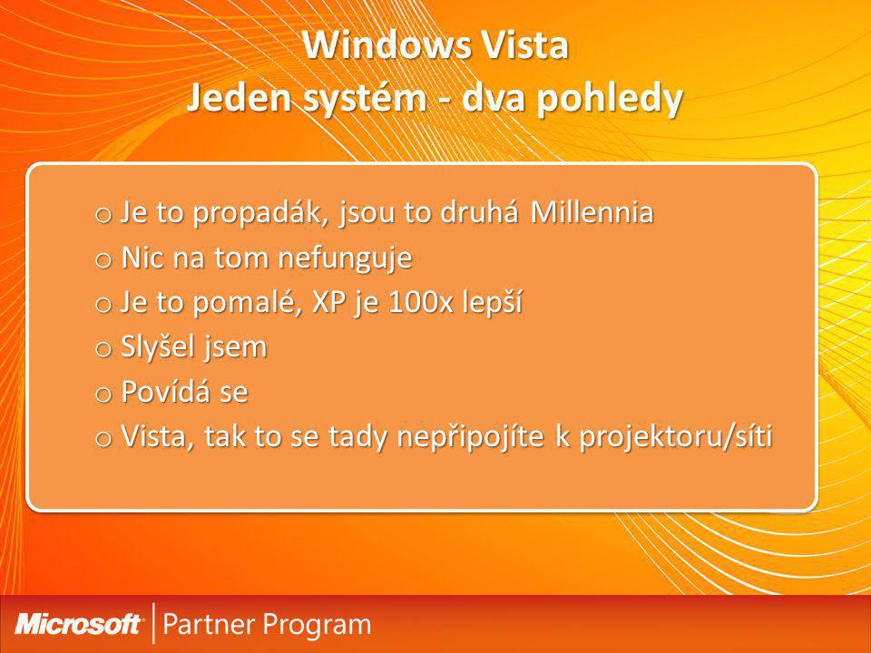 Windows Vista Jeden systém - dva pohledy