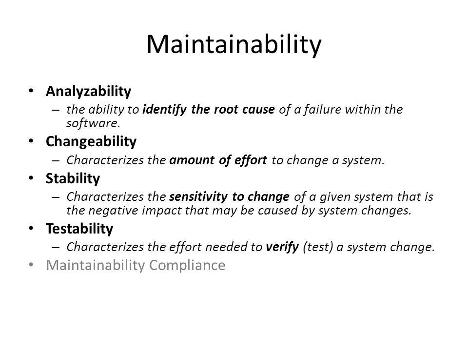 Maintainability Analyzability Changeability Stability Testability