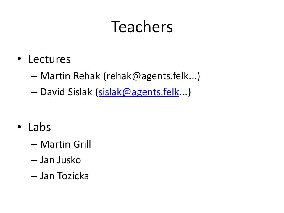 Teachers Lectures Labs Martin Rehak