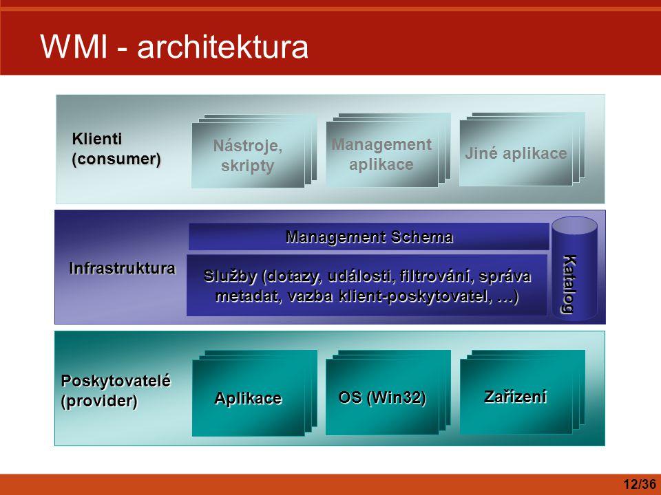 WMI - architektura Klienti (consumer) Nástroje, skripty Jiné aplikace