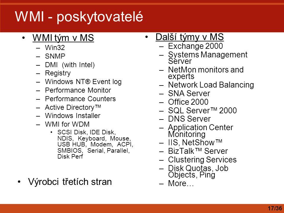 WMI - poskytovatelé WMI tým v MS Další týmy v MS Výrobci třetích stran