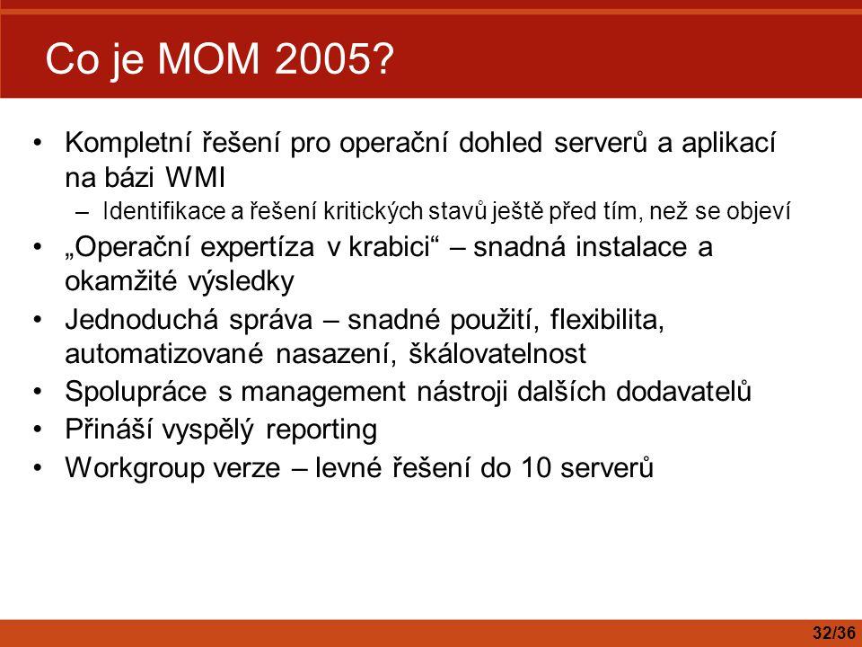 Co je MOM 2005 Kompletní řešení pro operační dohled serverů a aplikací na bázi WMI.