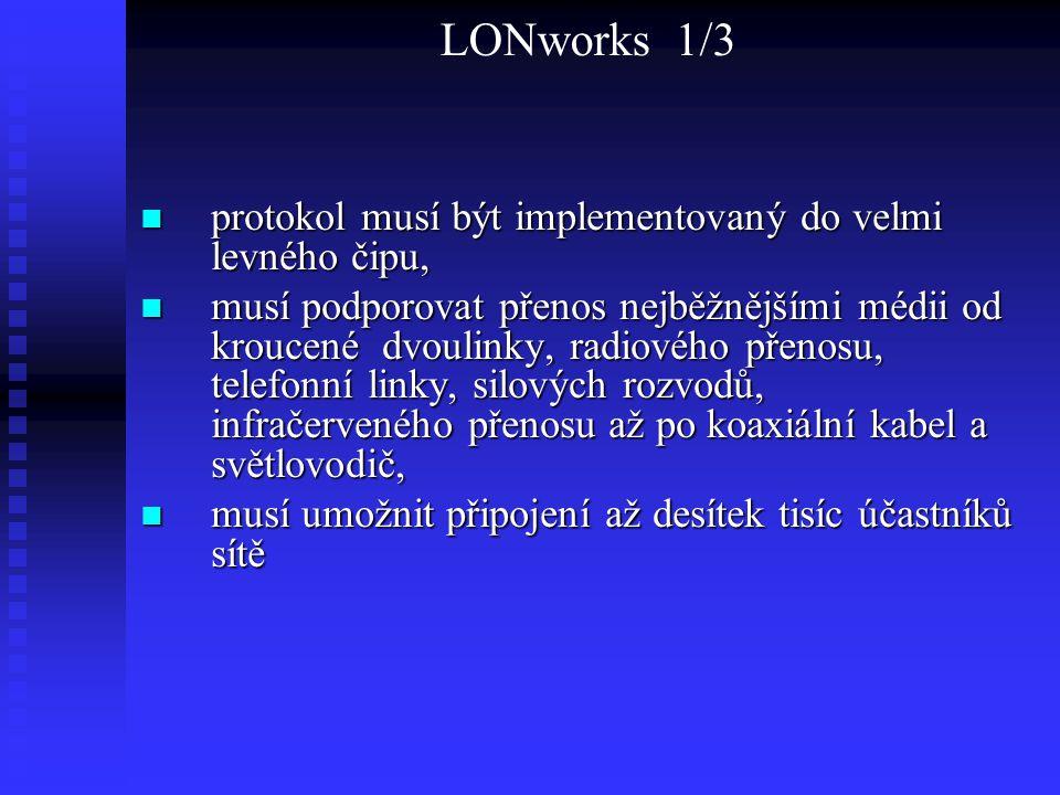 LONworks 1/3 protokol musí být implementovaný do velmi levného čipu,