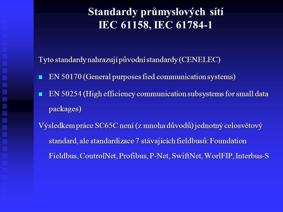 Standardy průmyslových sítí IEC 61158, IEC 61784-1