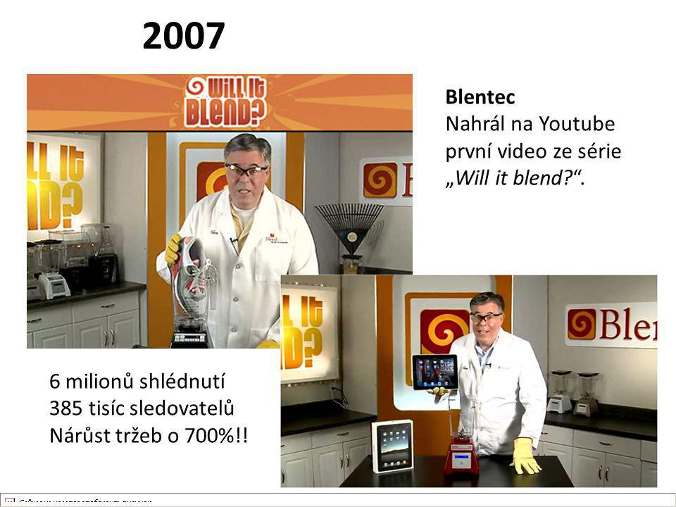 "2007 Blentec Nahrál na Youtube první video ze série ""Will it blend ."