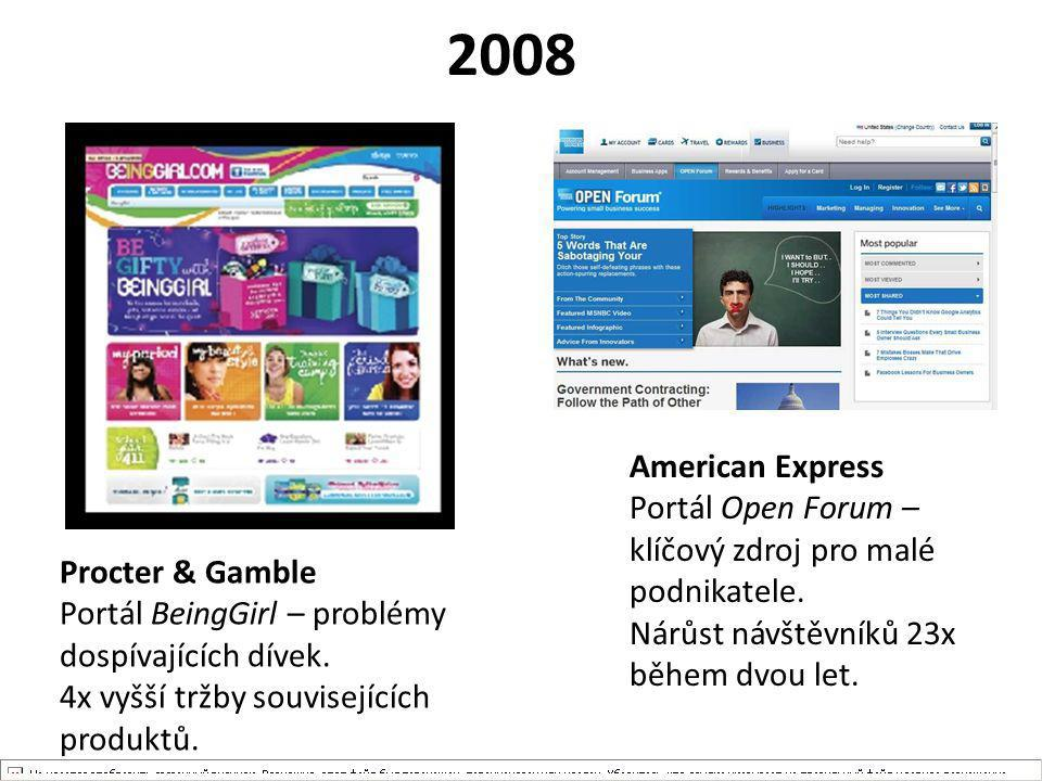 2008 American Express. Portál Open Forum – klíčový zdroj pro malé podnikatele. Nárůst návštěvníků 23x během dvou let.
