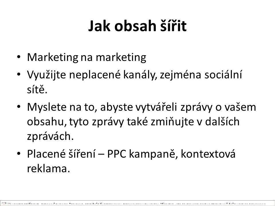 Jak obsah šířit Marketing na marketing