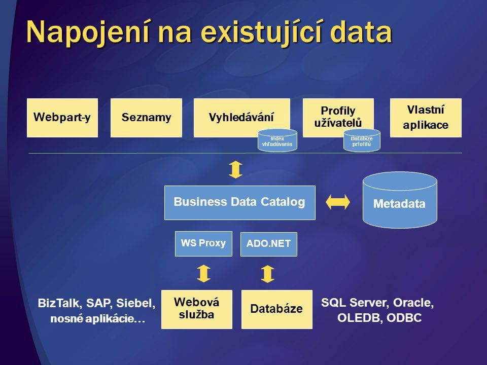 Napojení na existující data