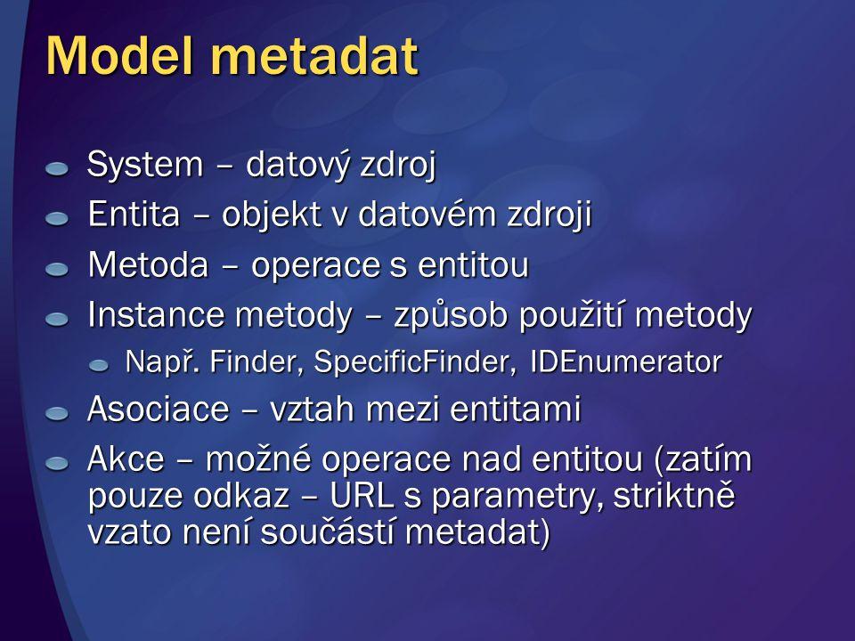 Model metadat System – datový zdroj Entita – objekt v datovém zdroji