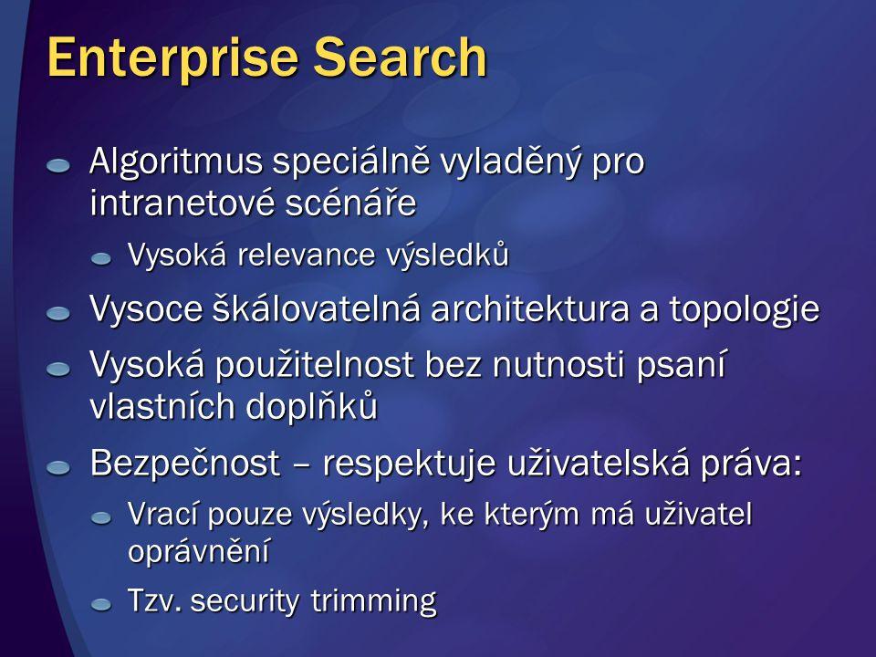 Enterprise Search Algoritmus speciálně vyladěný pro intranetové scénáře. Vysoká relevance výsledků.