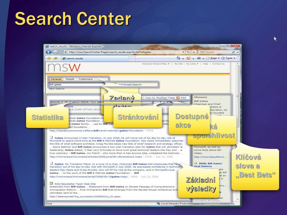 Search Center Záložky hledání Zadaný dotaz Stránkování Dostupné akce