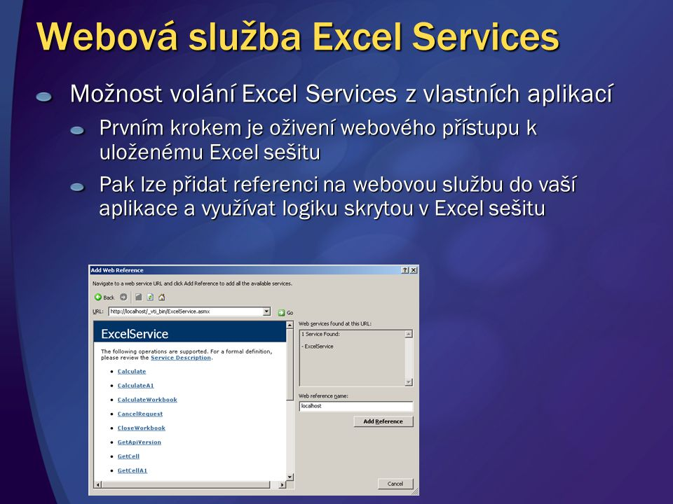 Webová služba Excel Services