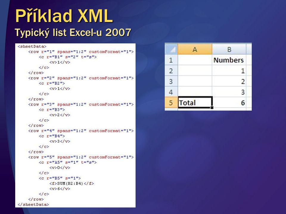 Příklad XML Typický list Excel-u 2007