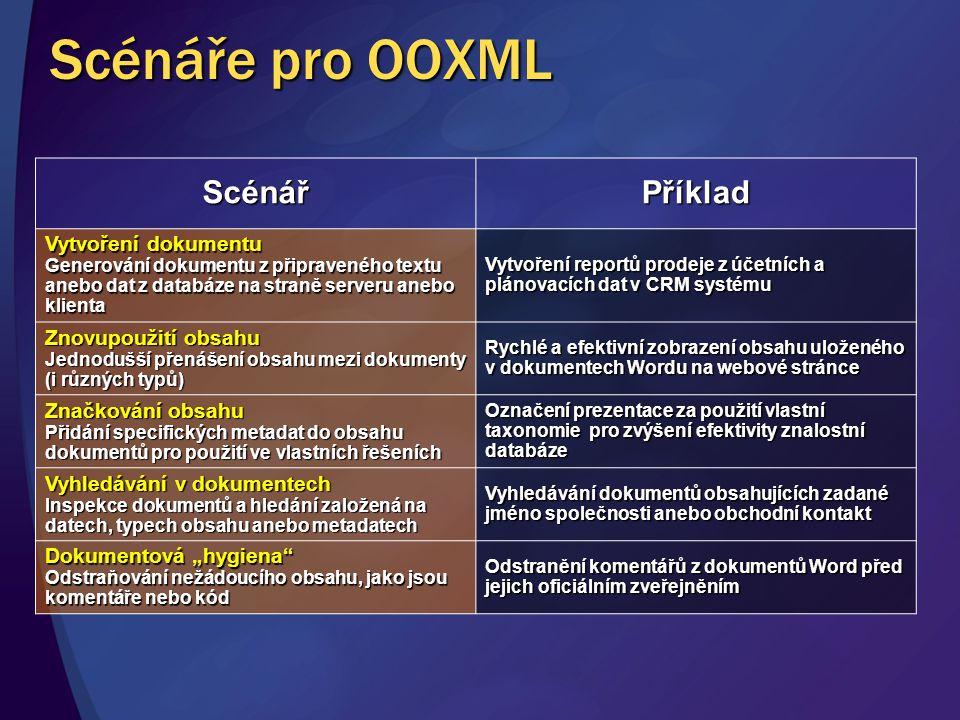 Scénáře pro OOXML Scénář Příklad