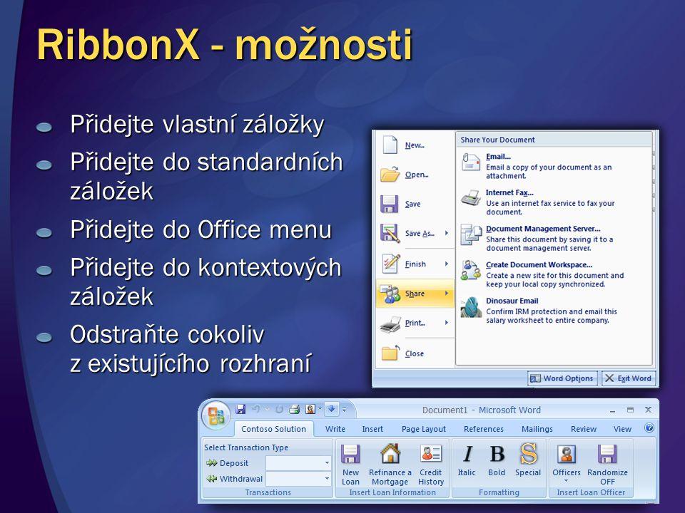 RibbonX - možnosti * * * Přidejte vlastní záložky