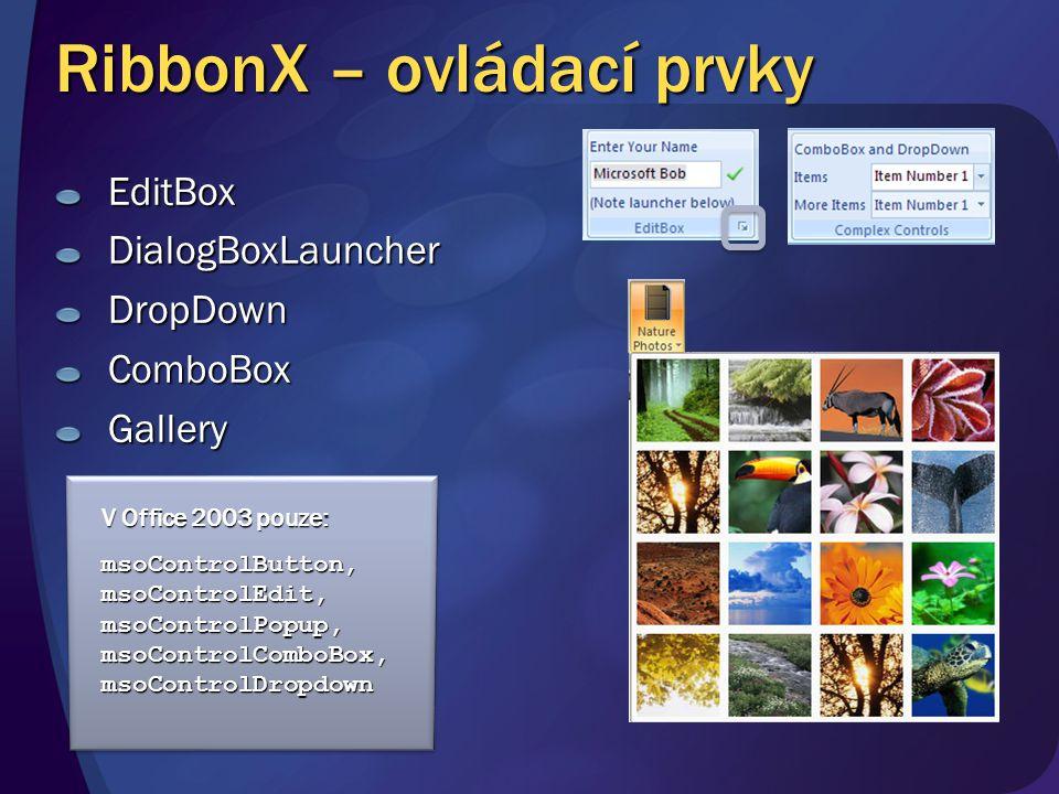 RibbonX – ovládací prvky