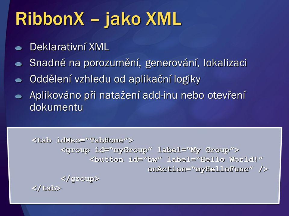 RibbonX – jako XML * * * Deklarativní XML