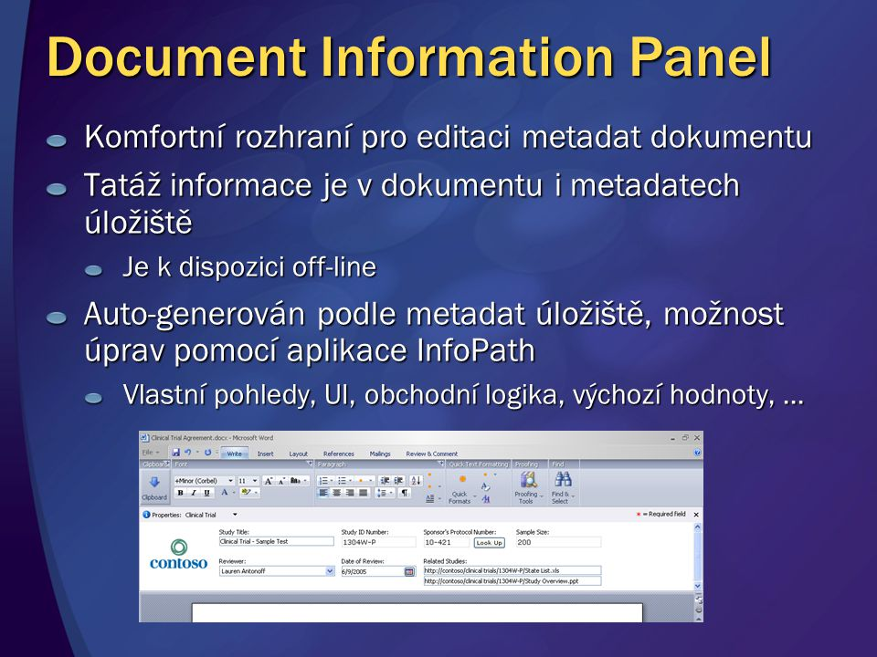 Document Information Panel