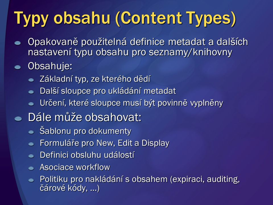 Typy obsahu (Content Types)