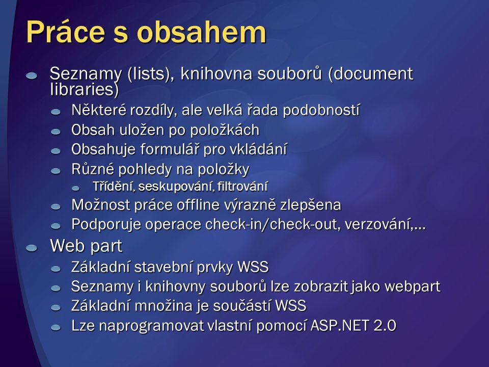 Práce s obsahem Seznamy (lists), knihovna souborů (document libraries)