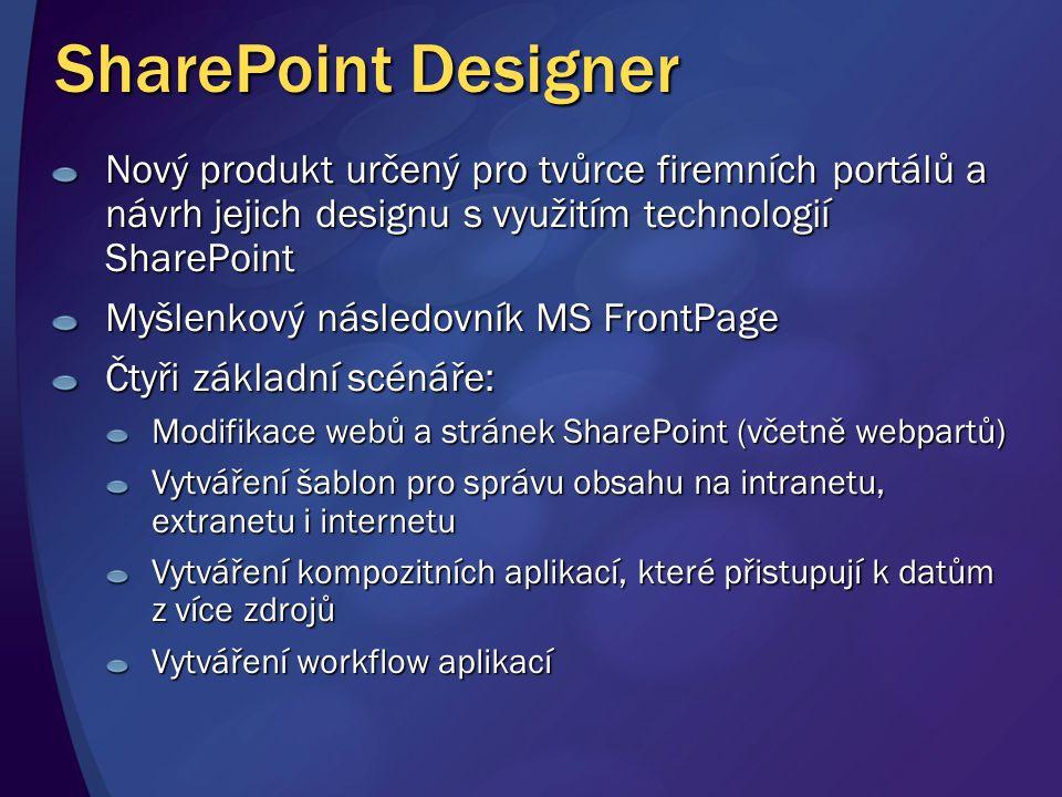 4/5/2017 3:05 PM SharePoint Designer. Nový produkt určený pro tvůrce firemních portálů a návrh jejich designu s využitím technologií SharePoint.