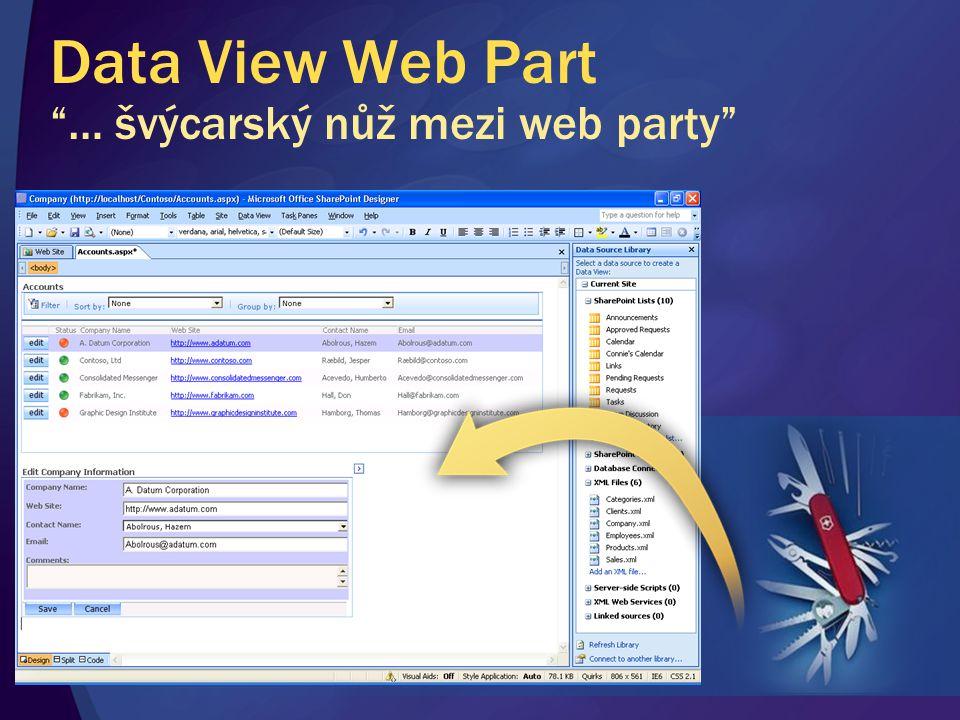 Data View Web Part … švýcarský nůž mezi web party