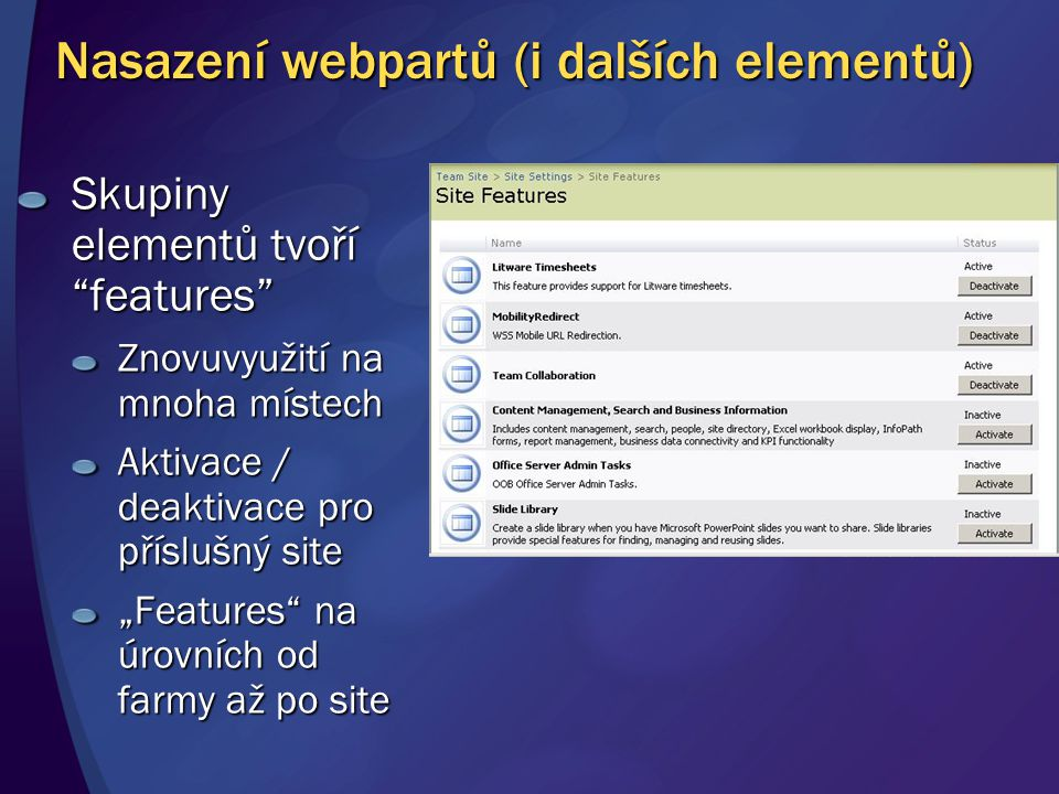 Nasazení webpartů (i dalších elementů)