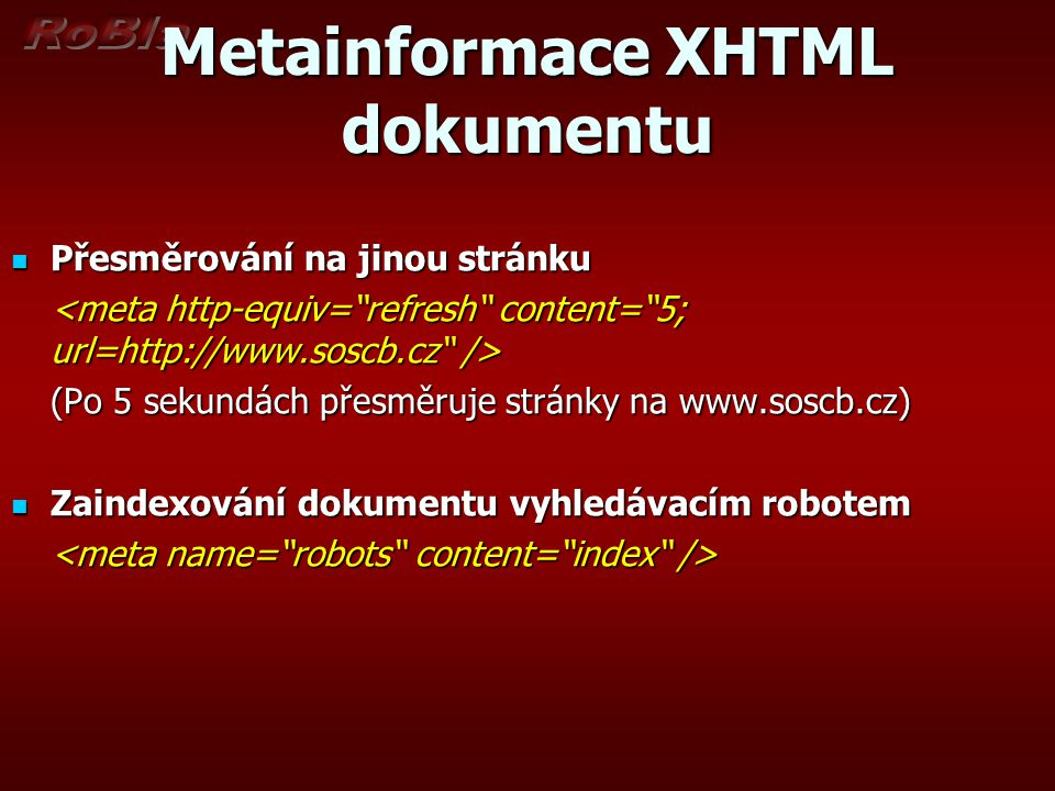 Metainformace XHTML dokumentu