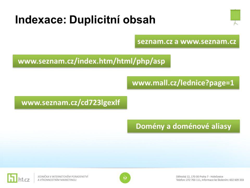 Indexace: Duplicitní obsah