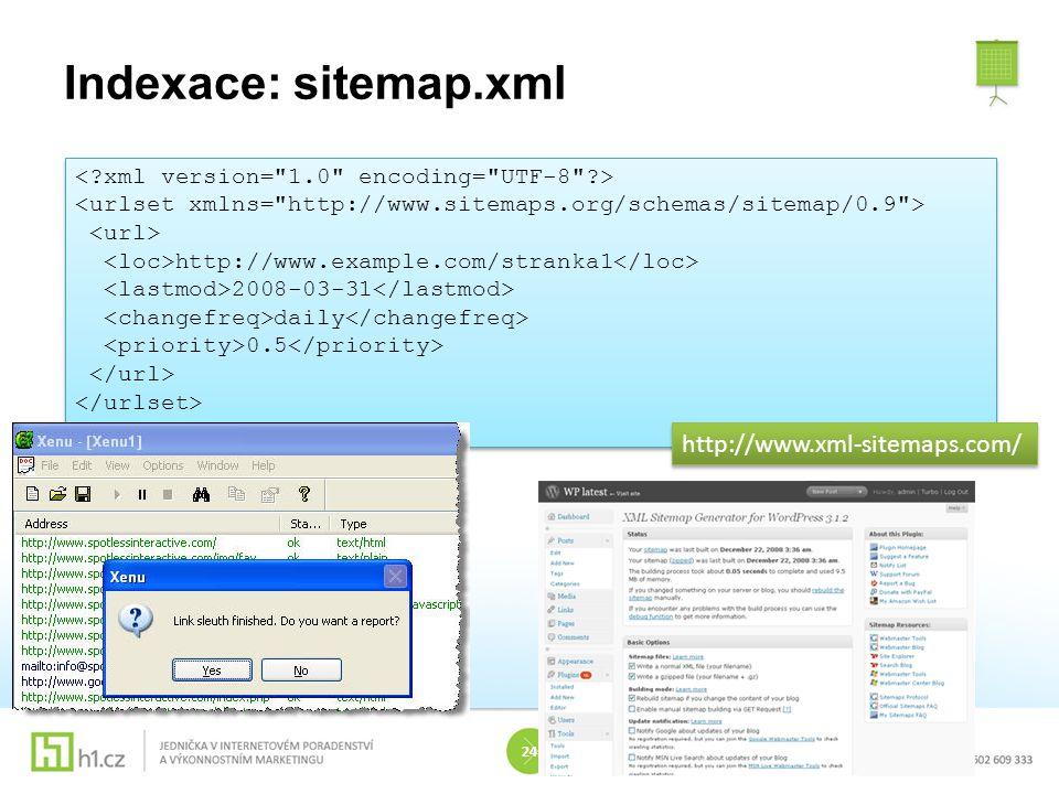 Indexace: sitemap.xml http://www.xml-sitemaps.com/