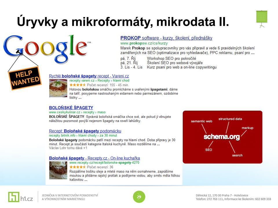 Úryvky a mikroformáty, mikrodata II.
