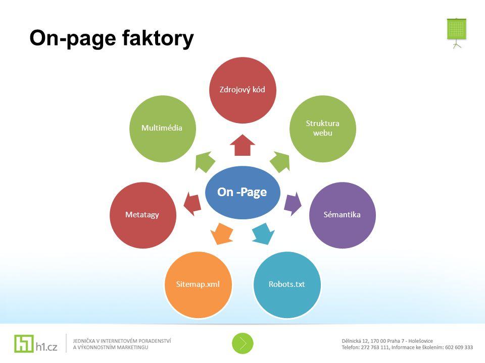 On-page faktory On -Page Zdrojový kód Struktura webu Sémantika