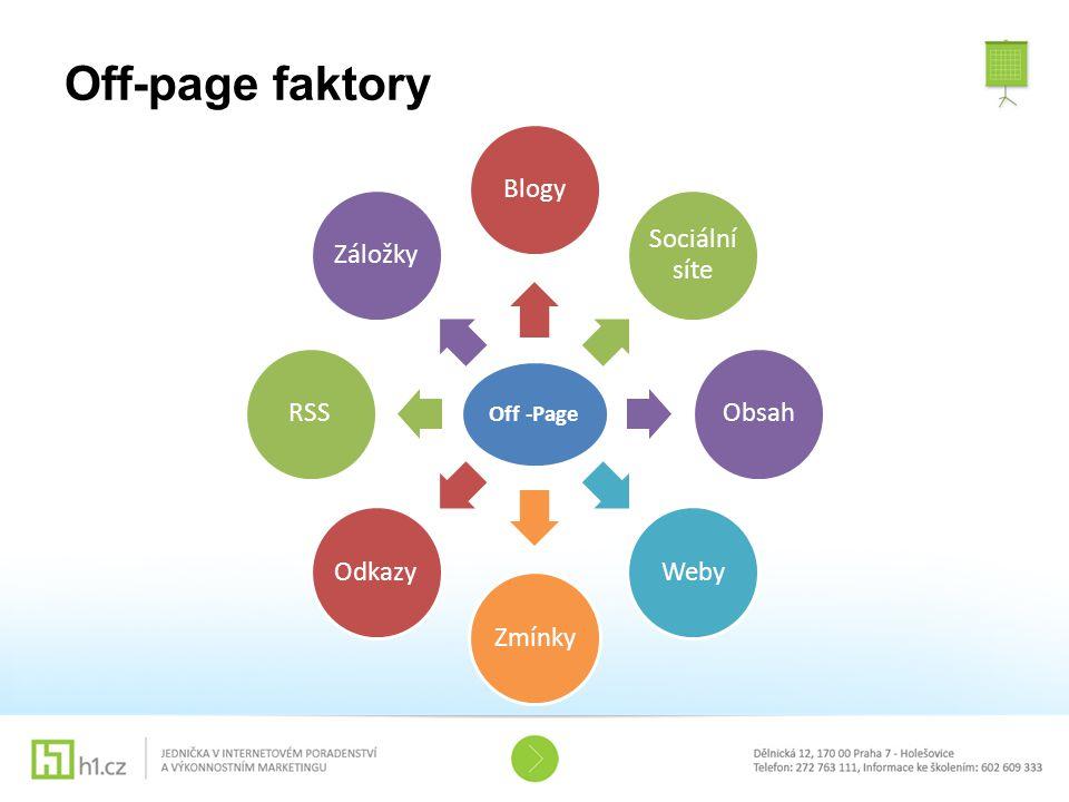 Off-page faktory Off -Page Blogy Sociální síte Obsah Weby Zmínky