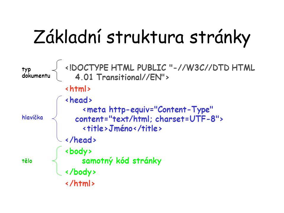 Základní struktura stránky