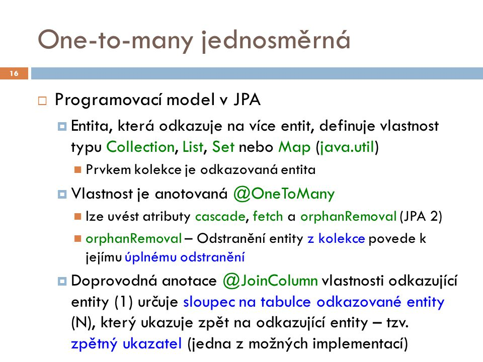 One-to-many jednosměrná
