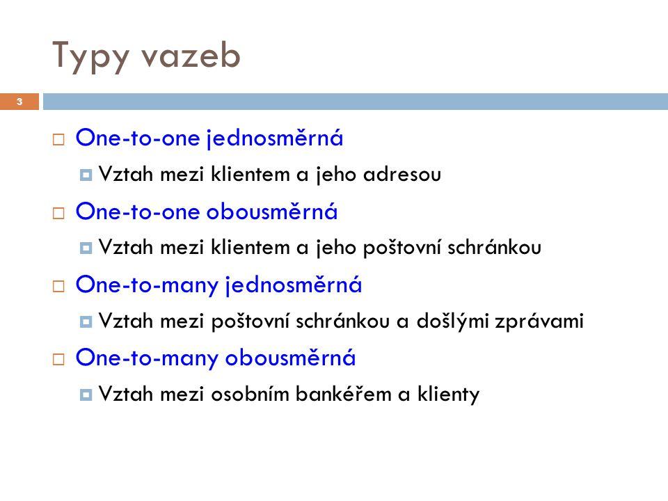 Typy vazeb One-to-one jednosměrná One-to-one obousměrná