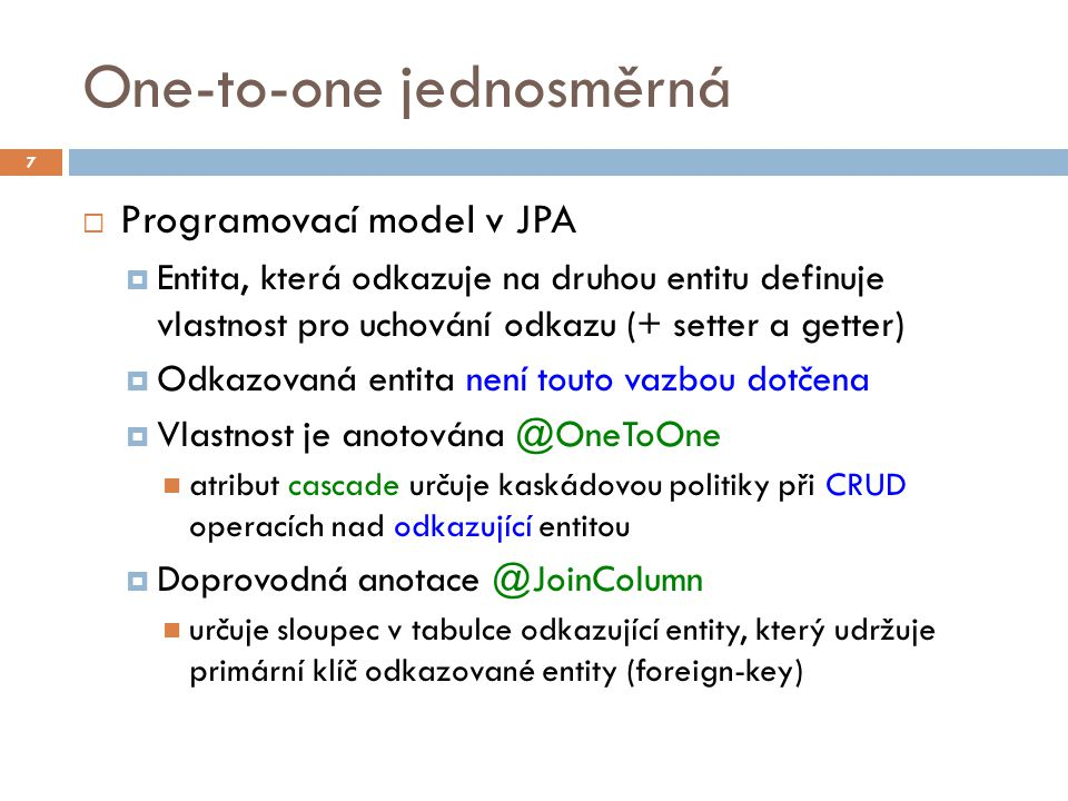 One-to-one jednosměrná