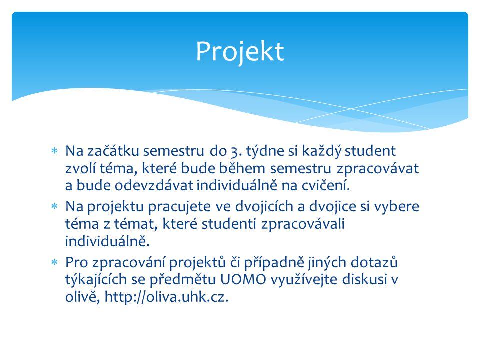 Projekt Na začátku semestru do 3. týdne si každý student zvolí téma, které bude během semestru zpracovávat a bude odevzdávat individuálně na cvičení.
