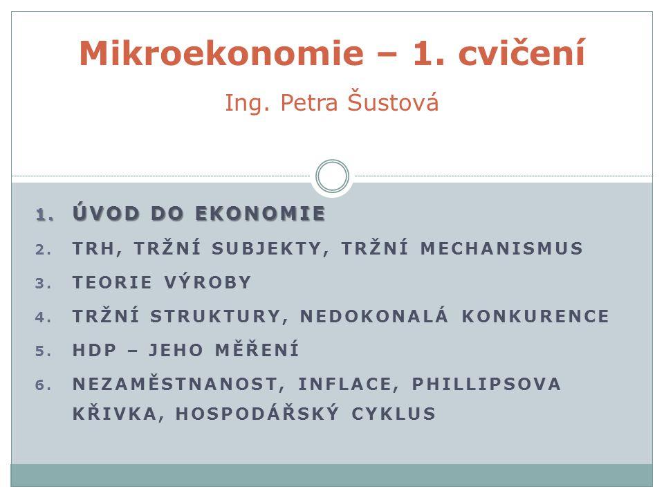 Mikroekonomie – 1. cvičení Ing. Petra Šustová