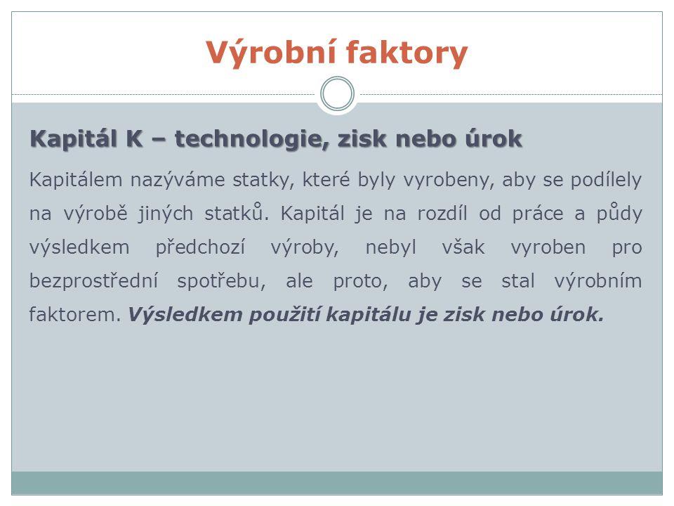 Výrobní faktory Kapitál K – technologie, zisk nebo úrok