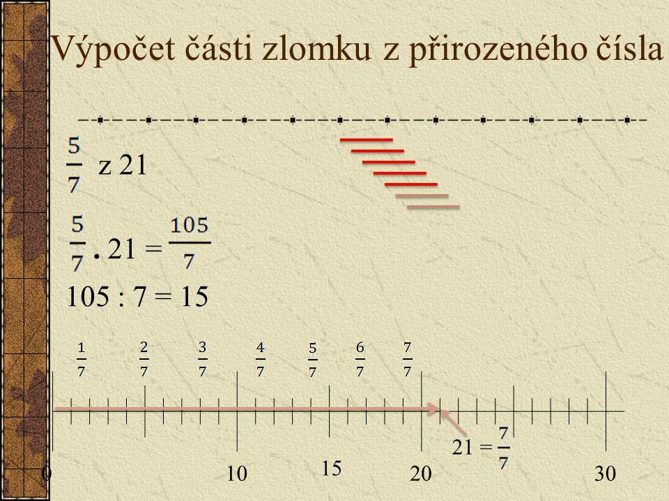 Výpočet části zlomku z přirozeného čísla