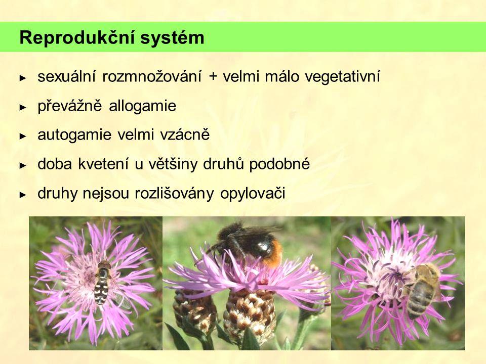 Reprodukční systém sexuální rozmnožování + velmi málo vegetativní