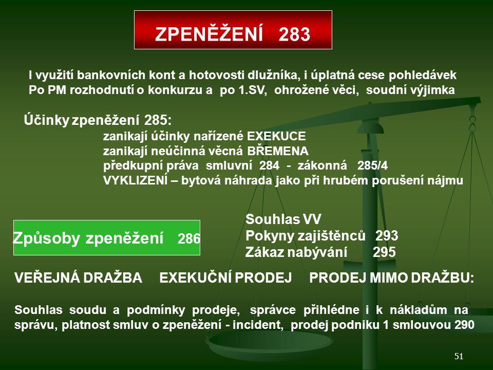 ZPENĚŽENÍ 283 Způsoby zpeněžení 286 Účinky zpeněžení 285: Souhlas VV