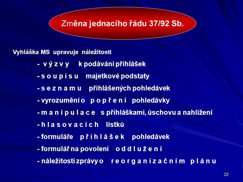 Změna jednacího řádu 37/92 Sb.