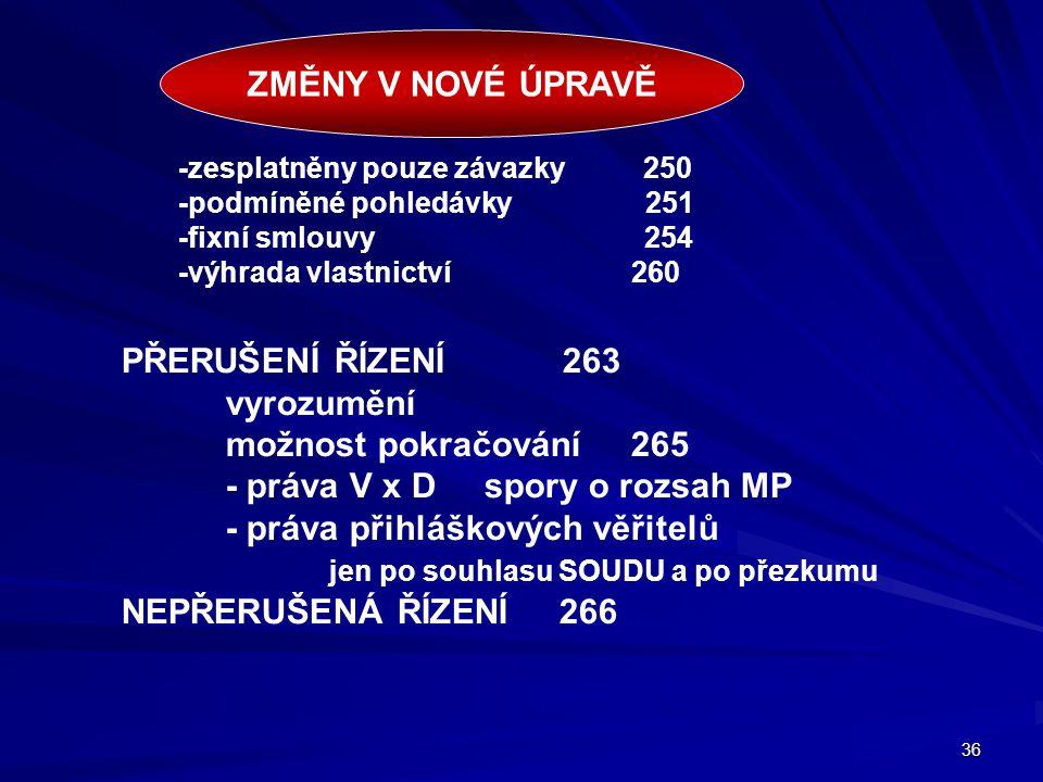 - práva V x D spory o rozsah MP - práva přihláškových věřitelů