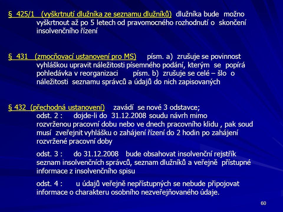 § 425/1 (vyškrtnutí dlužníka ze seznamu dlužníků) dlužníka bude možno
