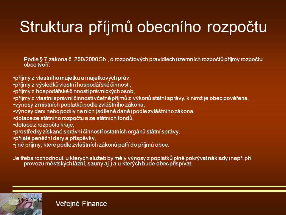 Struktura příjmů obecního rozpočtu